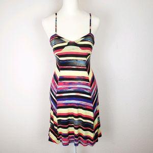 Jessica Simpson sexy striped colorful dress